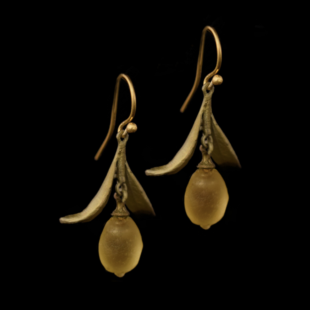 Lemon Drop Leaf Dangle Wire Earrings | Nature Jewelry | Michael Michaud | 3315BZ