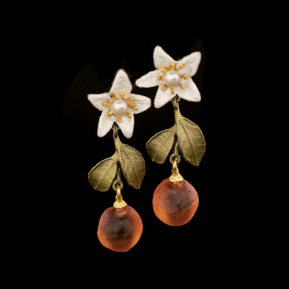 Orange Blossom Flower Drop Post Earrings | Nature Jewelry | Michael Michaud | 3326BZ
