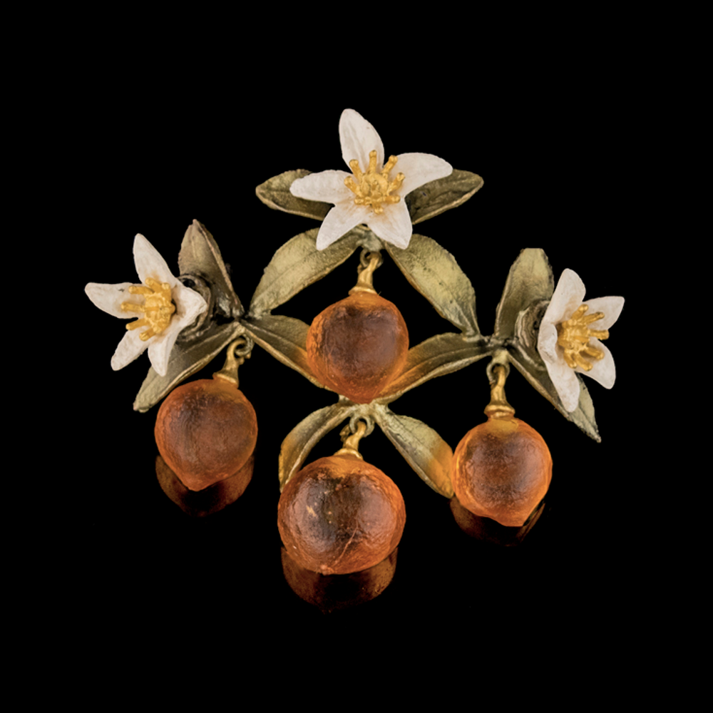 Orange Blossom Flower Drop Pin | Nature Jewelry | Michael Michaud | 5981BZ