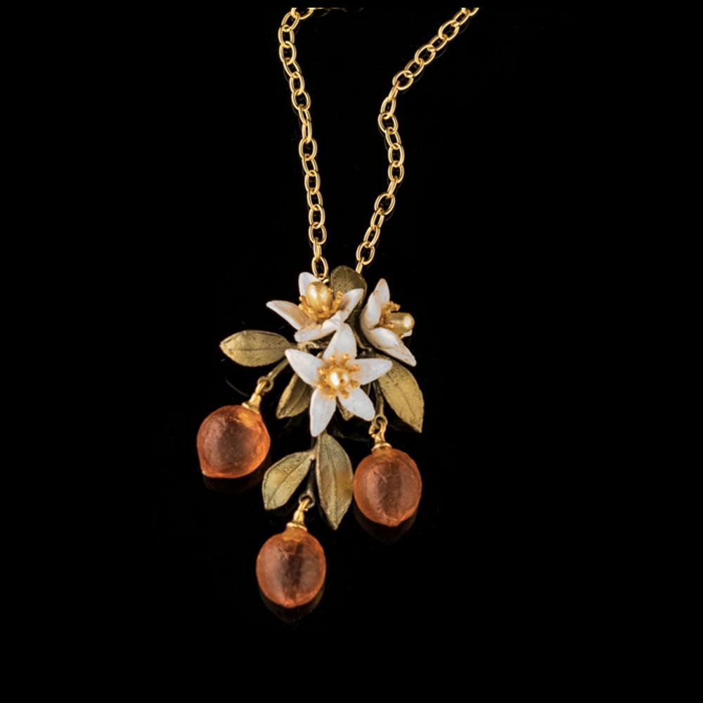 Orange Blossom Flower Drop Pendant Necklace | Nature Jewelry | Michael Michaud | 9238BZ