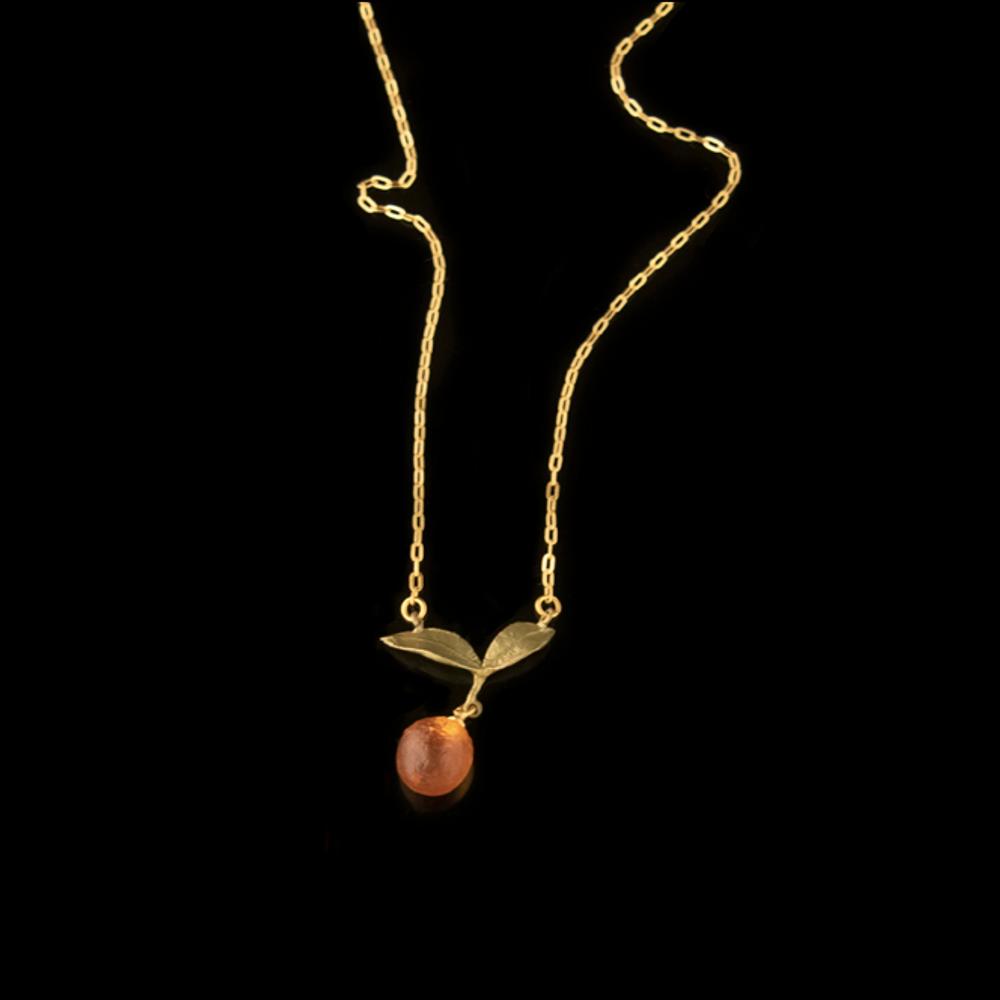 Orange Blossom Dainty Drop Pendant Necklace | Nature Jewelry | Michael Michaud | 9237BZ