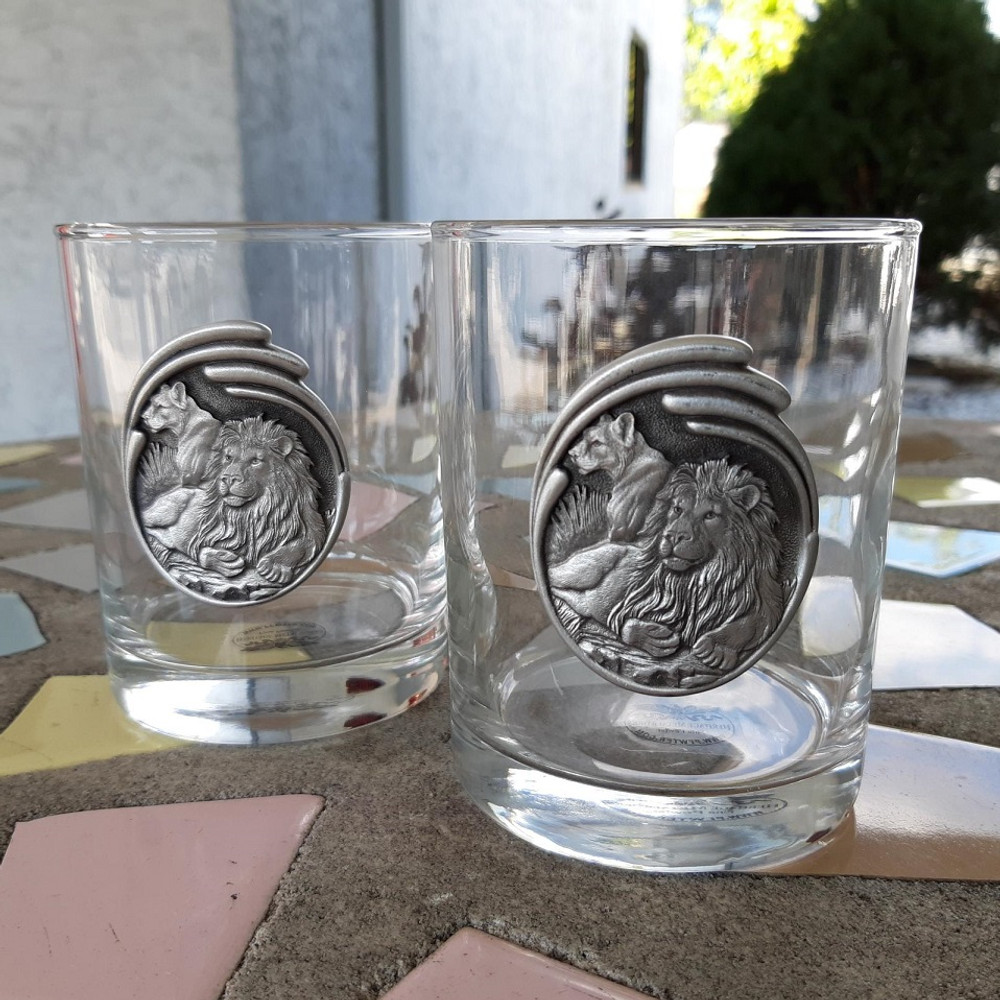 Lion Pair Double Old Fashioned Glass Set of 2 | Heritage Pewter | HPIDOF212