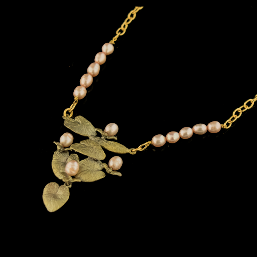 Water Lily Half Pearl Pendant Necklace | Nature Jewelry | Michael Michaud | 9258BZ