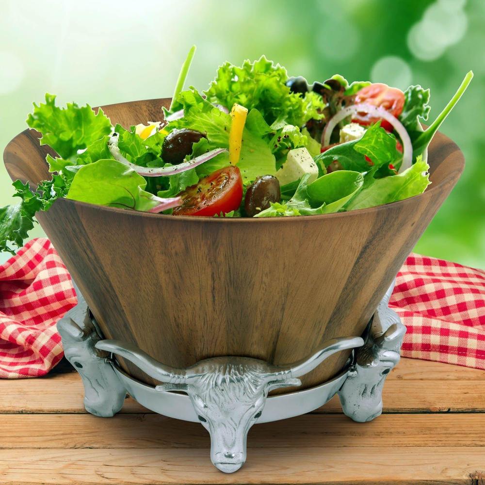 Longhorn Wood Salad Bowl   Arthur Court Designs   218W11