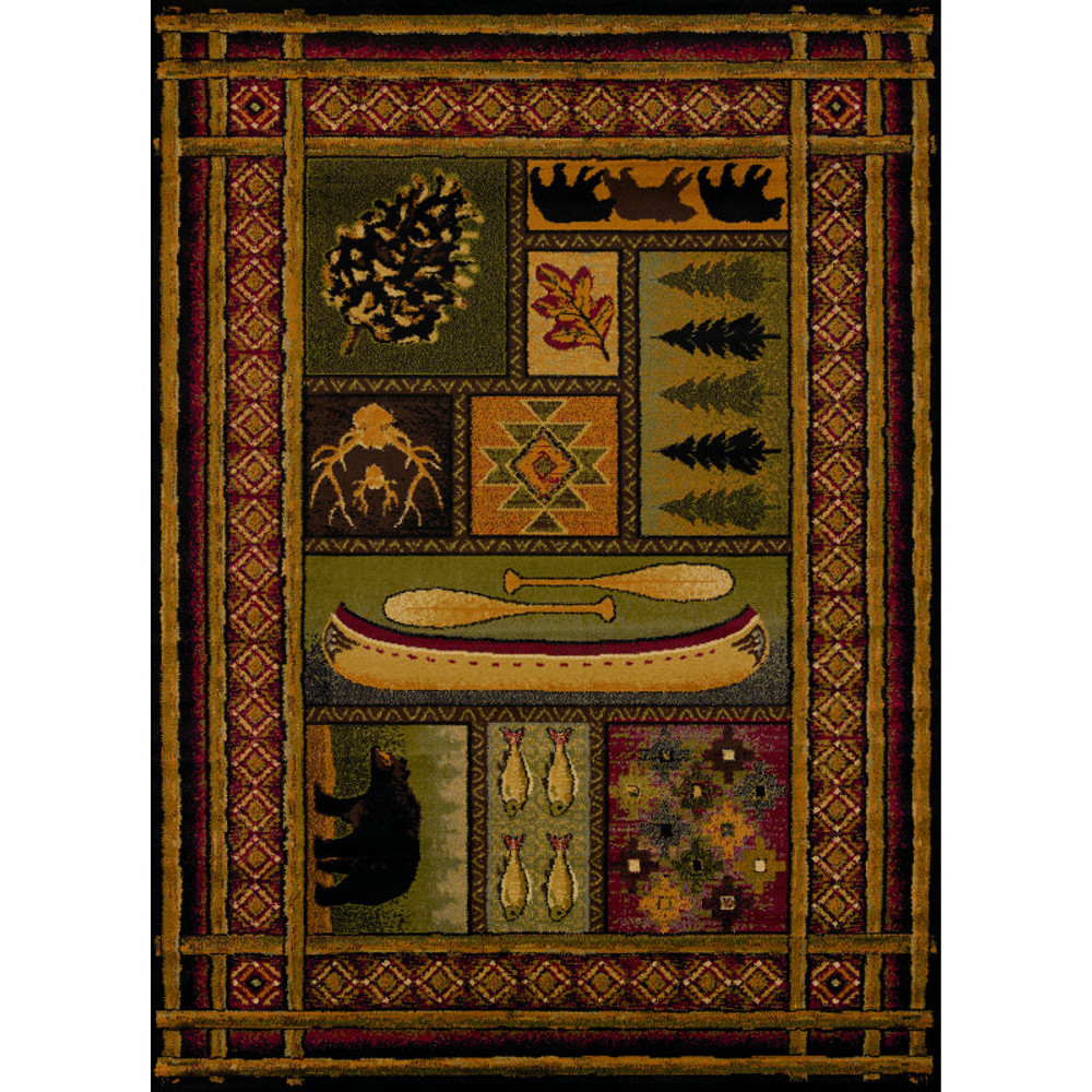 Bear, Fish, & Pinecone Lodge Canvas Multi Area Rug   United Weavers   750-01443