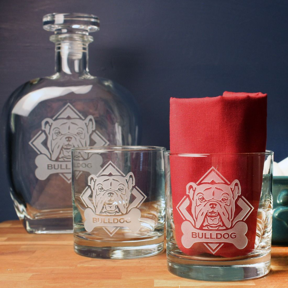 American Bulldog Whiskey Decanter Gift Set   Rolf Glass   362908