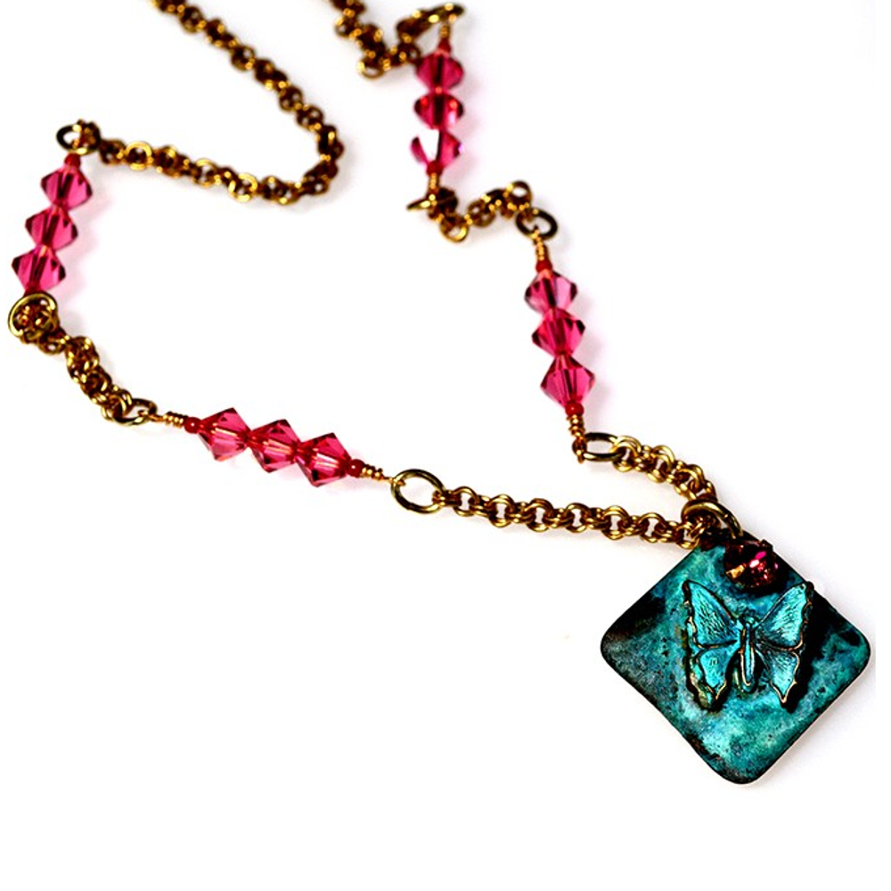 Patina Brass Butterfly Pendant Chain Necklace | Elaine Coyne Jewelry | BUP217N