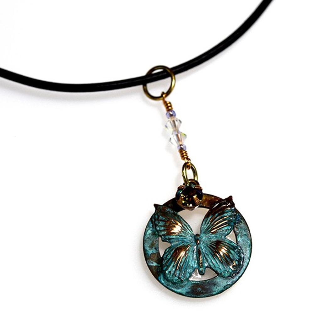 Butterfly Circle Pendant Rawhide Necklace | Elaine Coyne Jewelry | BUP117PDLEPC