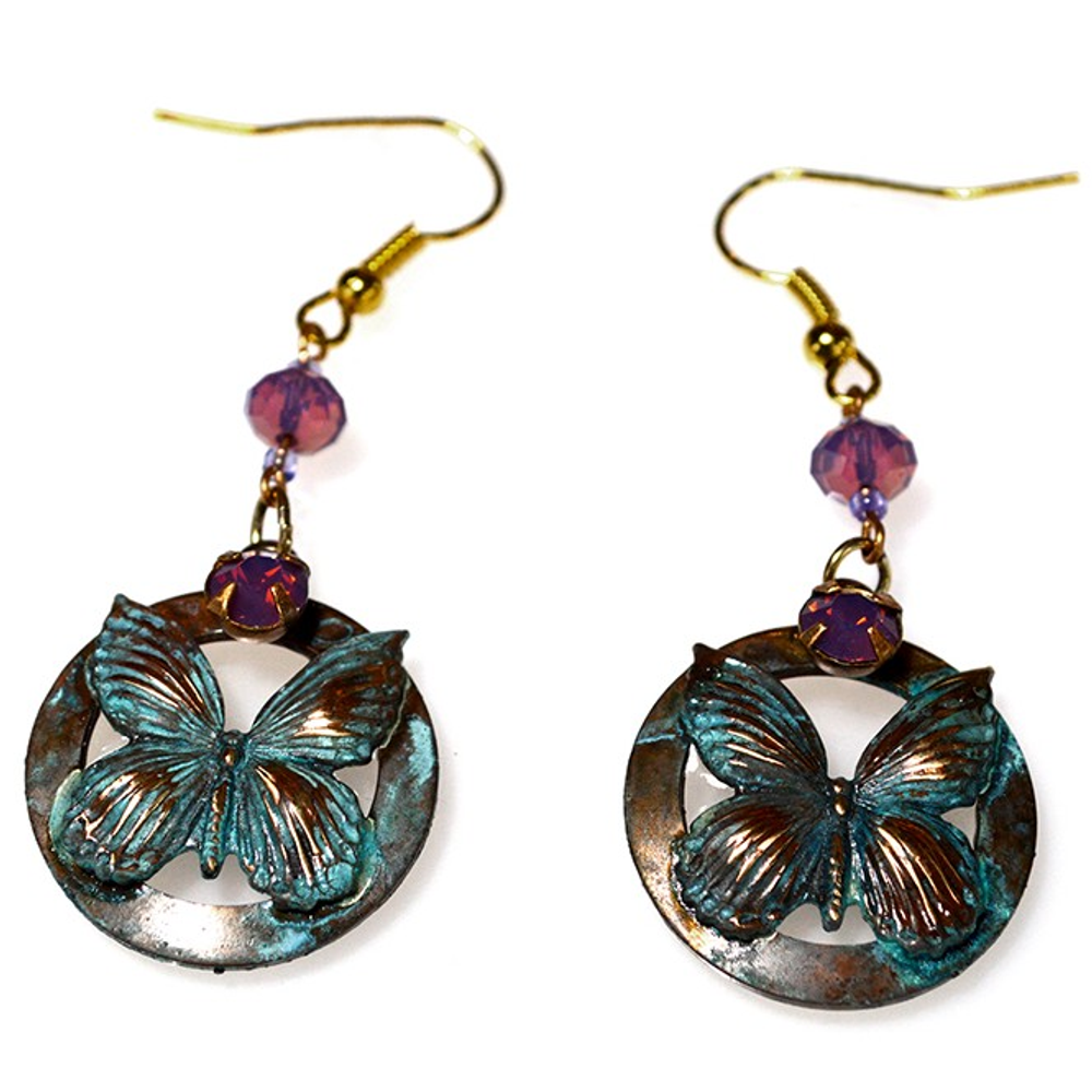 Butterfly on Circle Verdigris Brass Wire Earrings | Elaine Coyne Jewelry | ECGBUP117EVO