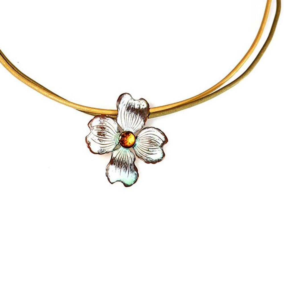 Dogwood Flower Pendant Necklace | Elaine Coyne Jewelry | NCW8404PDCI