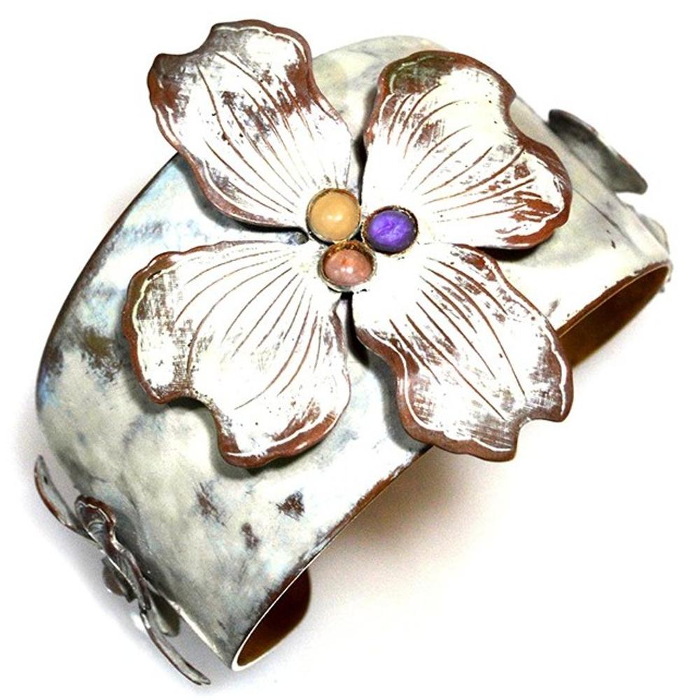 Dogwood Flowers Brass Cuff Bracelet | Elaine Coyne Jewelry | ECGNWC840CF