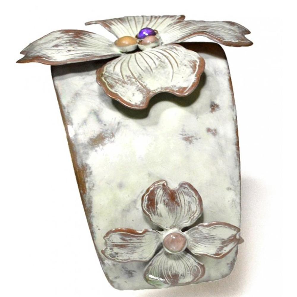 Dogwood Flowers Brass Cuff Bracelet | Elaine Coyne Jewelry | ECGNWC840CF -1