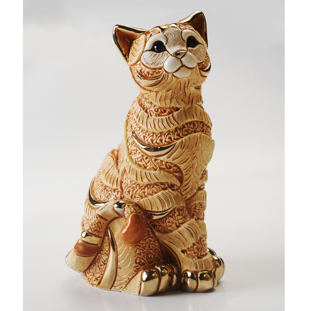 Orange Striped Cat Ceramic Figurine | De Rosa | 1035O
