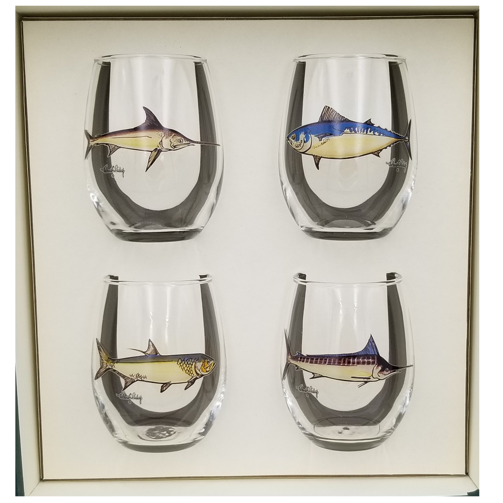 Game Fish Stemless Wine Glass Set   Richard Bishop   2079GF