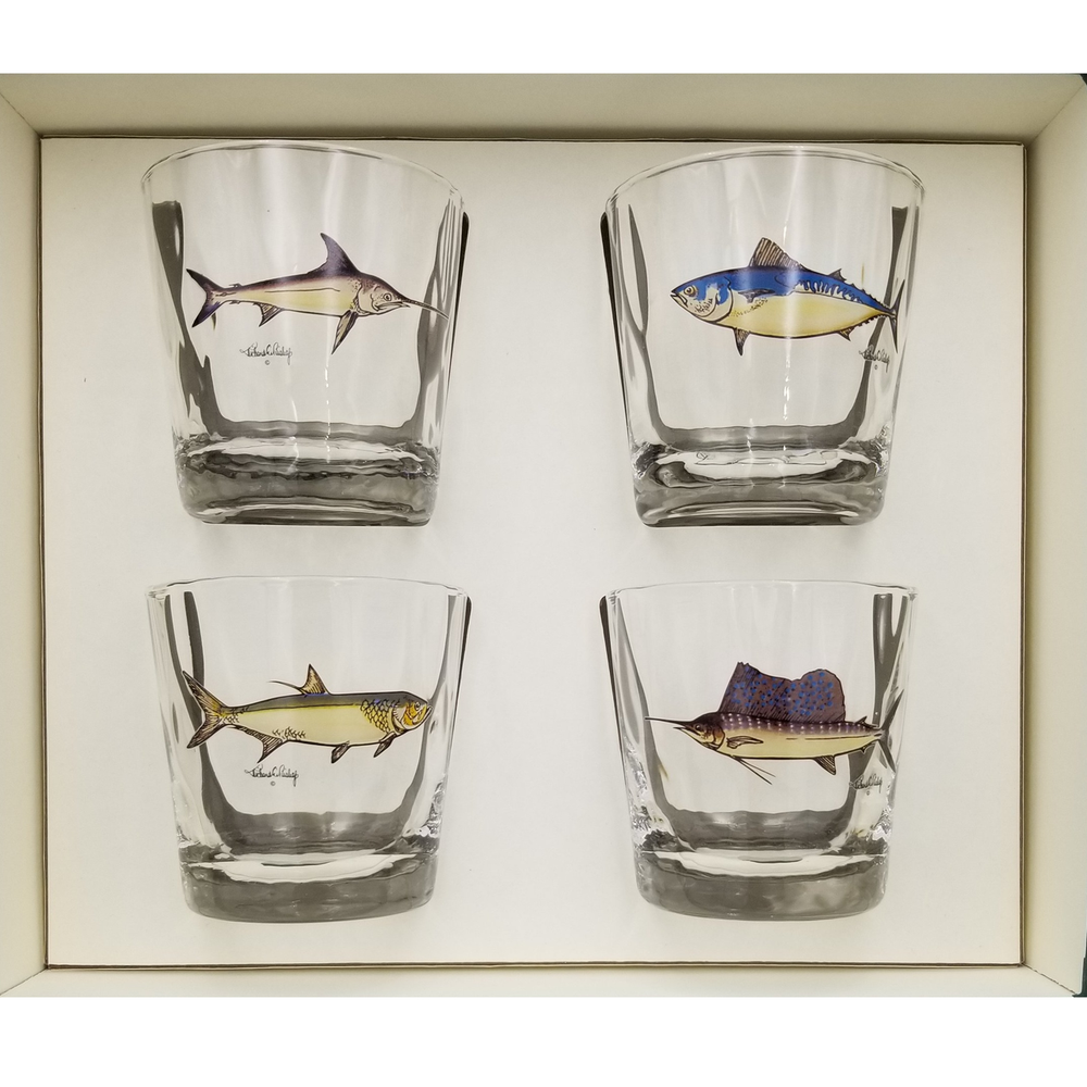 Game Fish Optic Double Old Fashioned Glass Set   Richard Bishop   3026GF