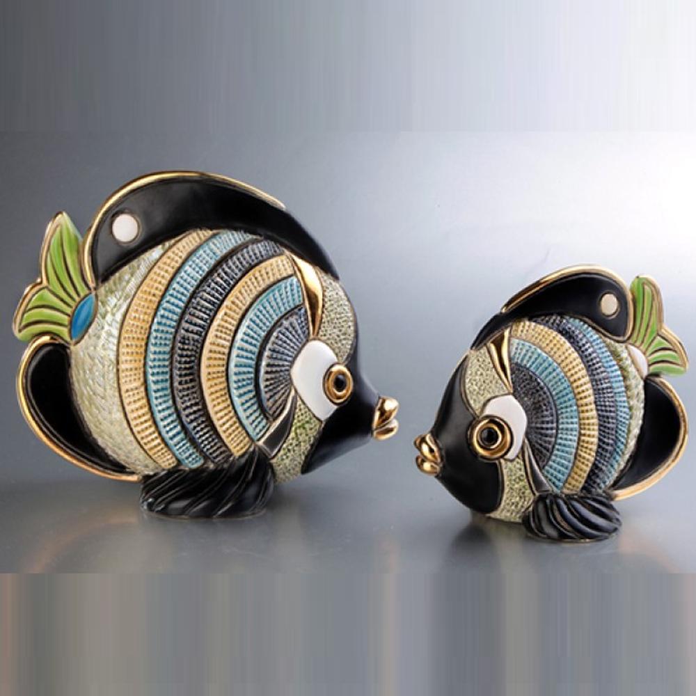 Butterfly Fish Family Ceramic Figurine Set of 2 | De Rosa | F154-F354