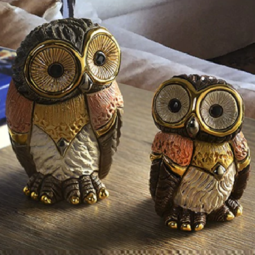Eastern Owl Family Ceramic Figurine Set of 2  | De Rosa | F183-F383