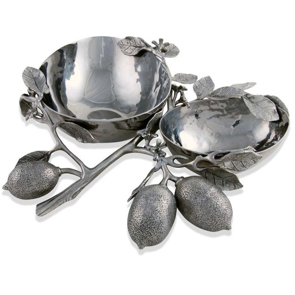 Lemon Branch Stainless Double Bowl Server | Vagabond House | G813LM