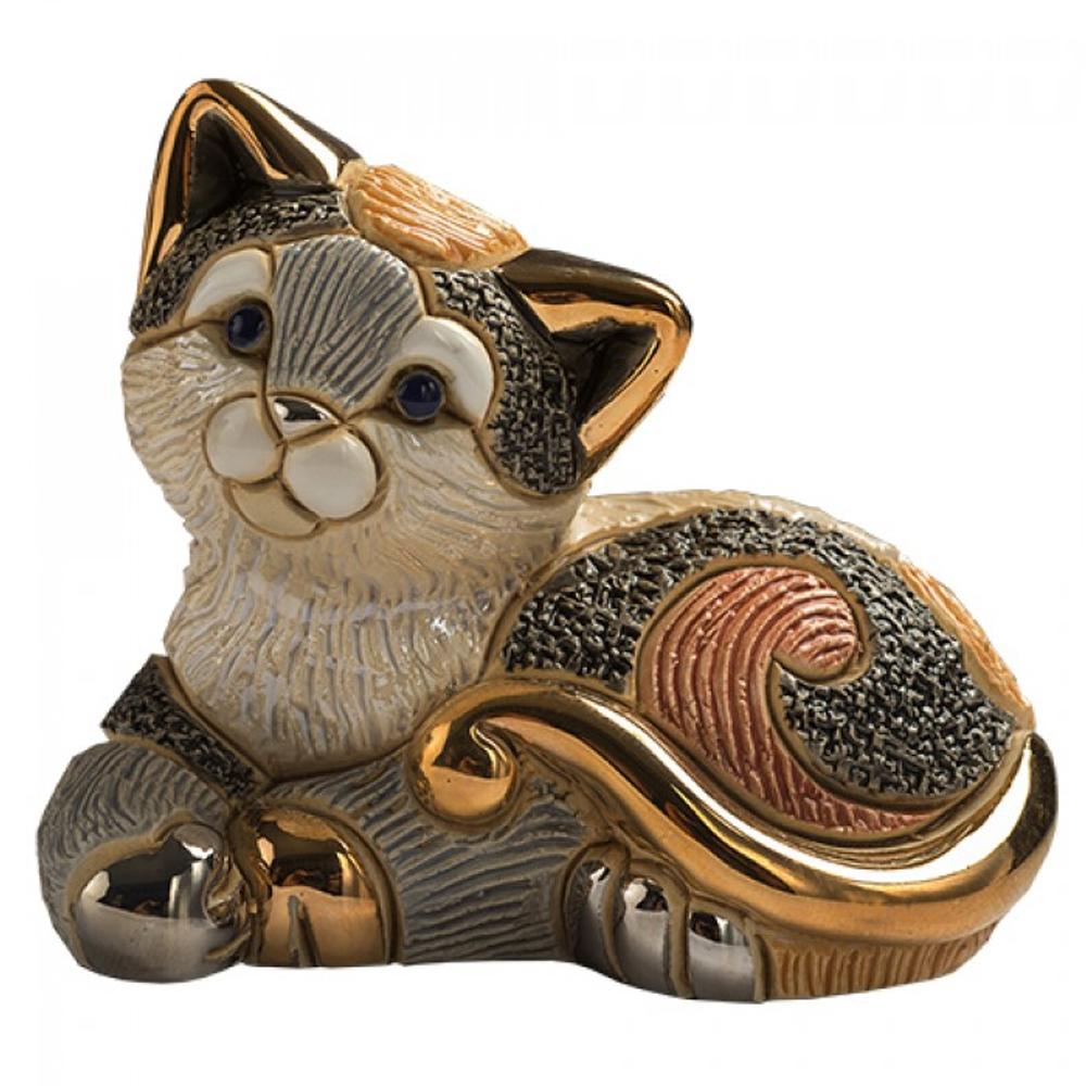 Calico Cat Family Ceramic Figurine Set of 2 | De Rosa | F183-F383 -3