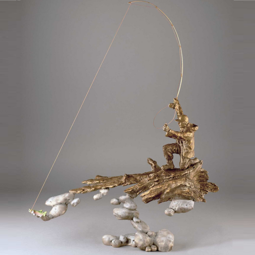 "Fisherman Bronze Sculpture ""Rivers's Edge""   Mark Hopkins   21058"