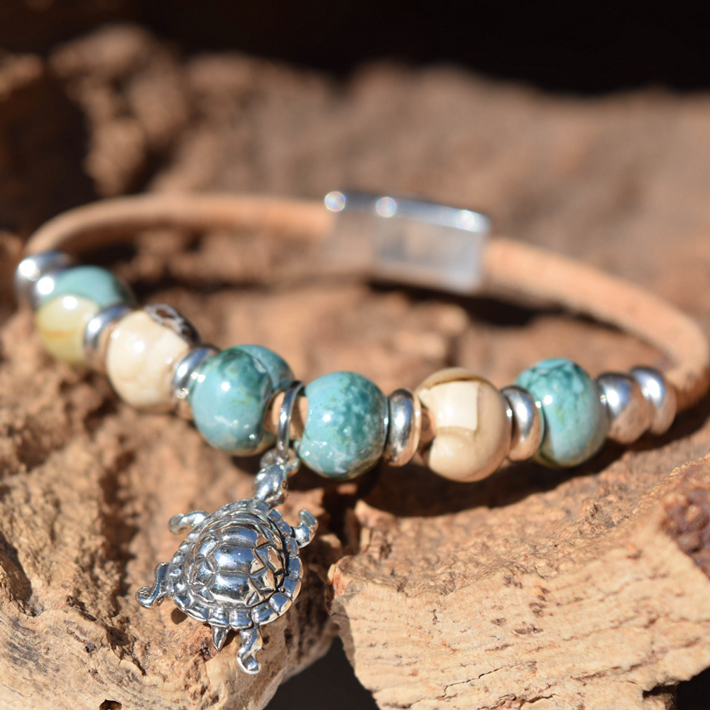 Sea Turtle Sterling Silver and Cork Bracelet | Nature Jewelry | CTD-B85-2
