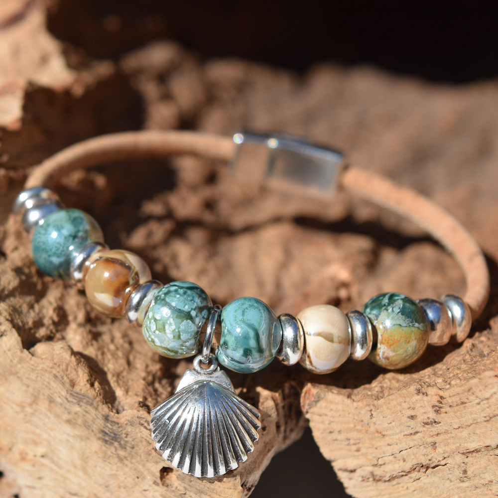 Shell Sterling Silver and Cork Bracelet | Nature Jewelry | CTD-B85-3