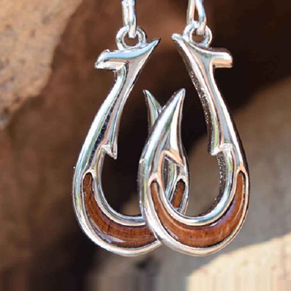 Fish Hook Sterling Silver and Koa Wood Earrings | Nature Jewelry | CTD-E23