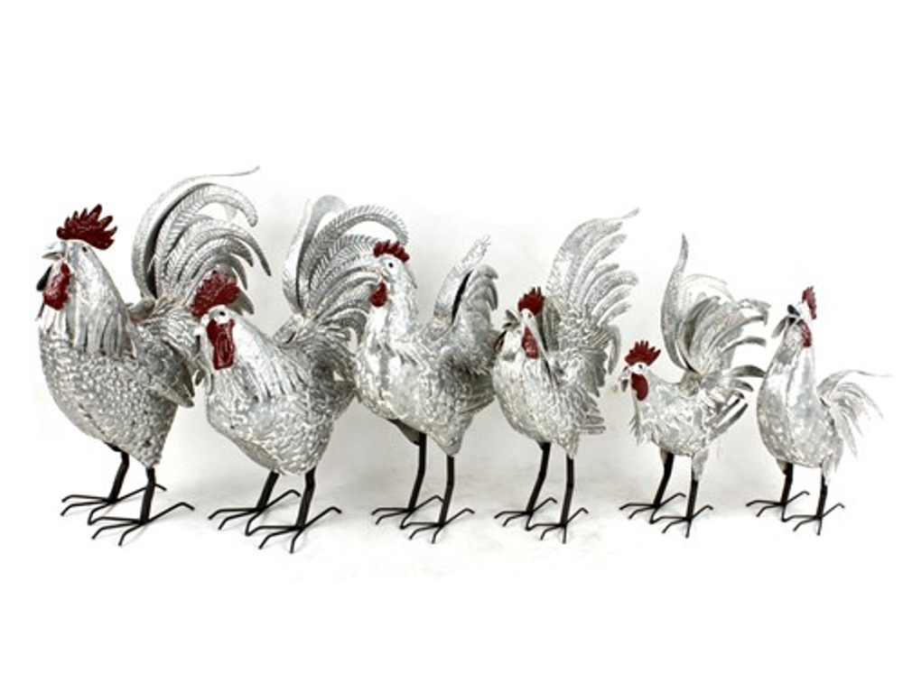 Rooster Metal Outdoor Garden Sculpture Set of 6 | Zaer International