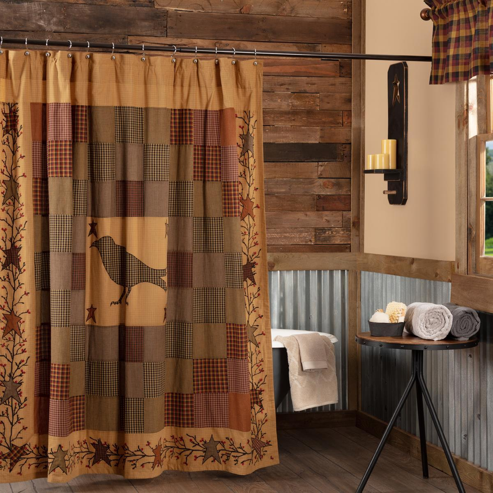 Heritage Farms Crow and Star Shower Curtain | VHC Brands | 45783