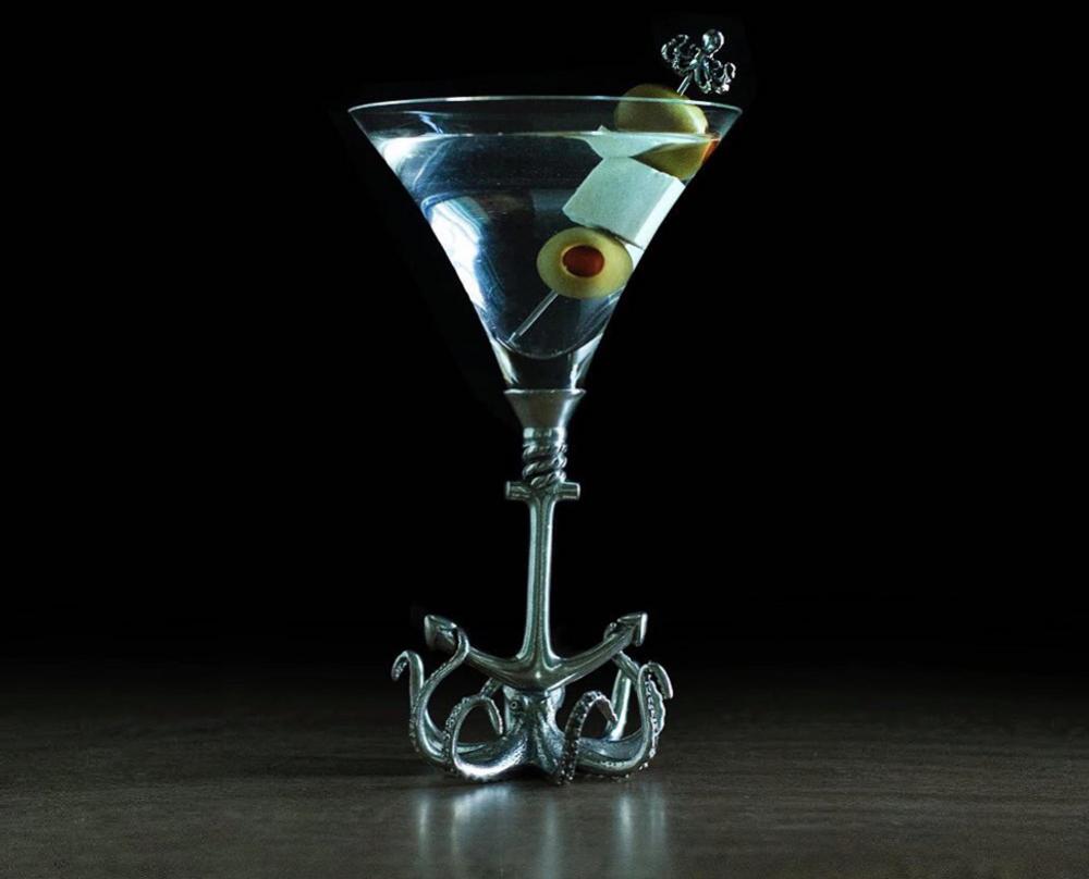 Octopus Stemmed Cocktail Glass Set of 4   Vagabond House   O2446T