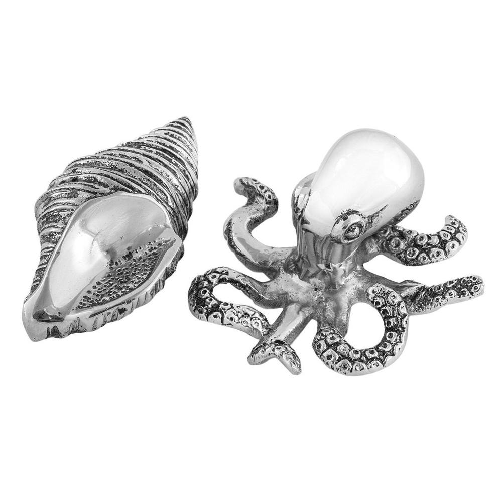 Octopus Shell Aluminum Salt Pepper Shakers | Star Home Designs | 42147