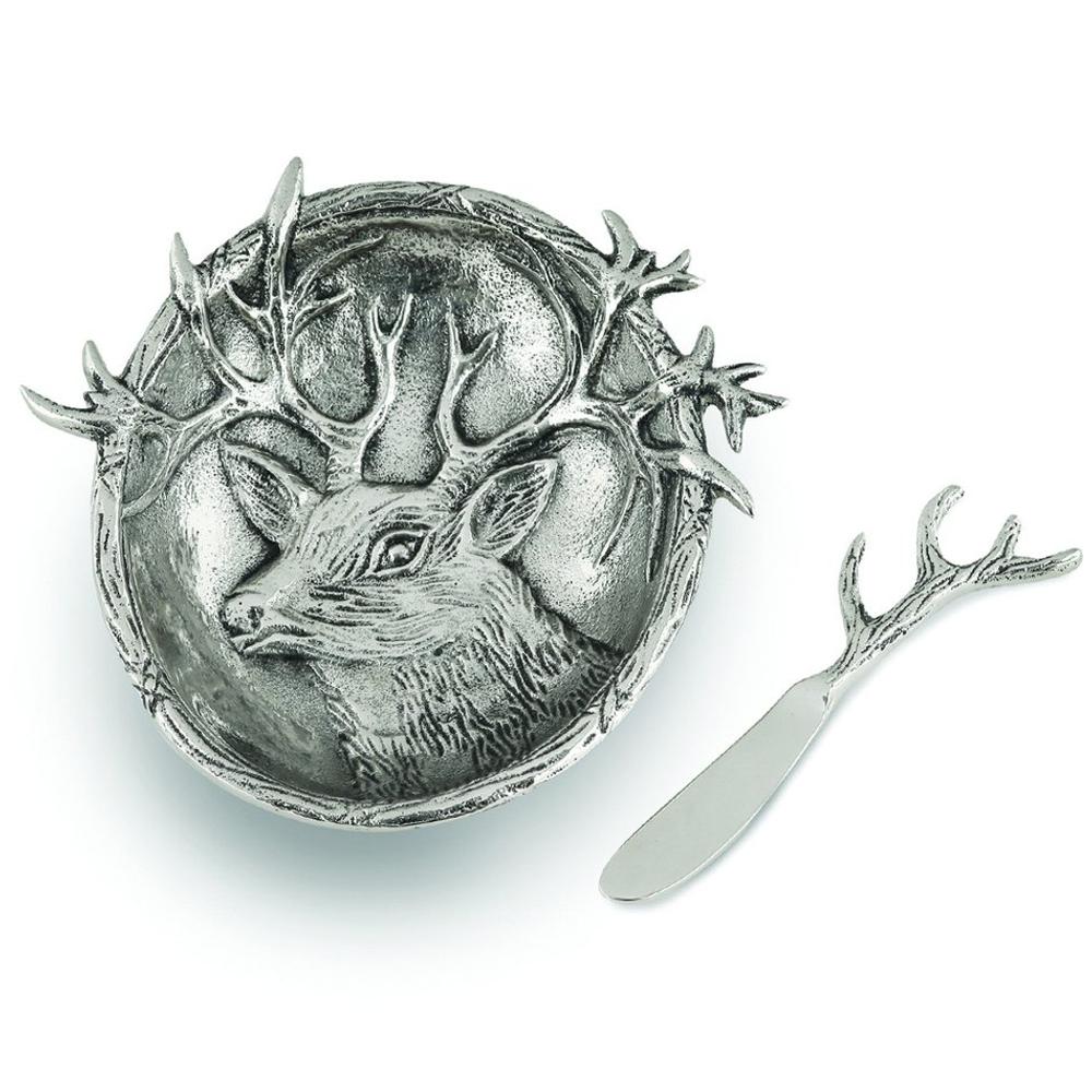 Lakeside Deer Aluminum Dip Dish with Spreader | Star Home Designs | 41934