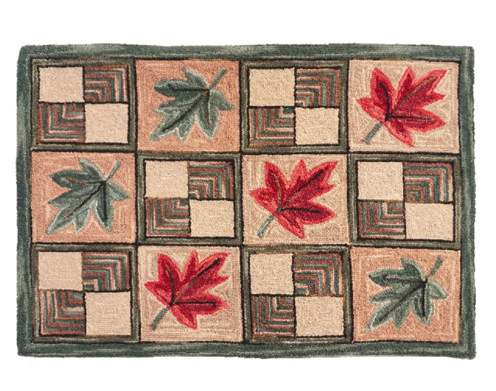"""Maple Leaf Wool Hooked Rug """"Vermont"""" 