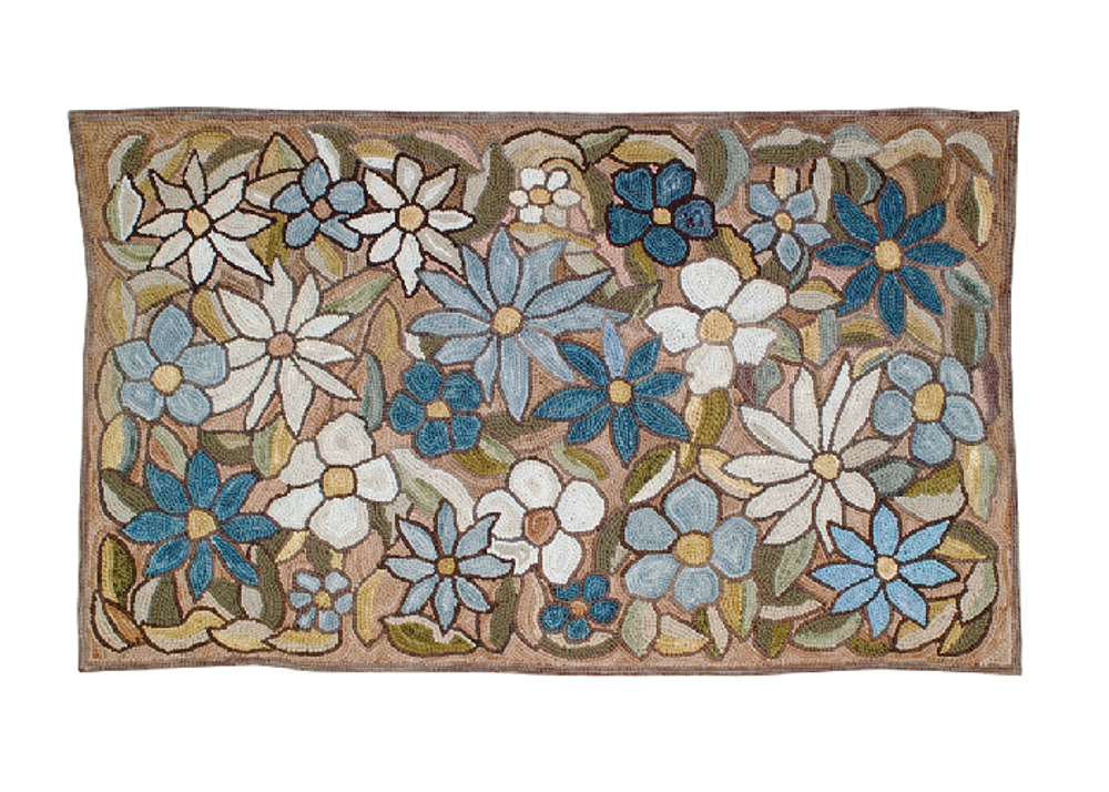 "Big Beautiful Flowers Cotton Hooked Rug ""Camp Wildflower"" 