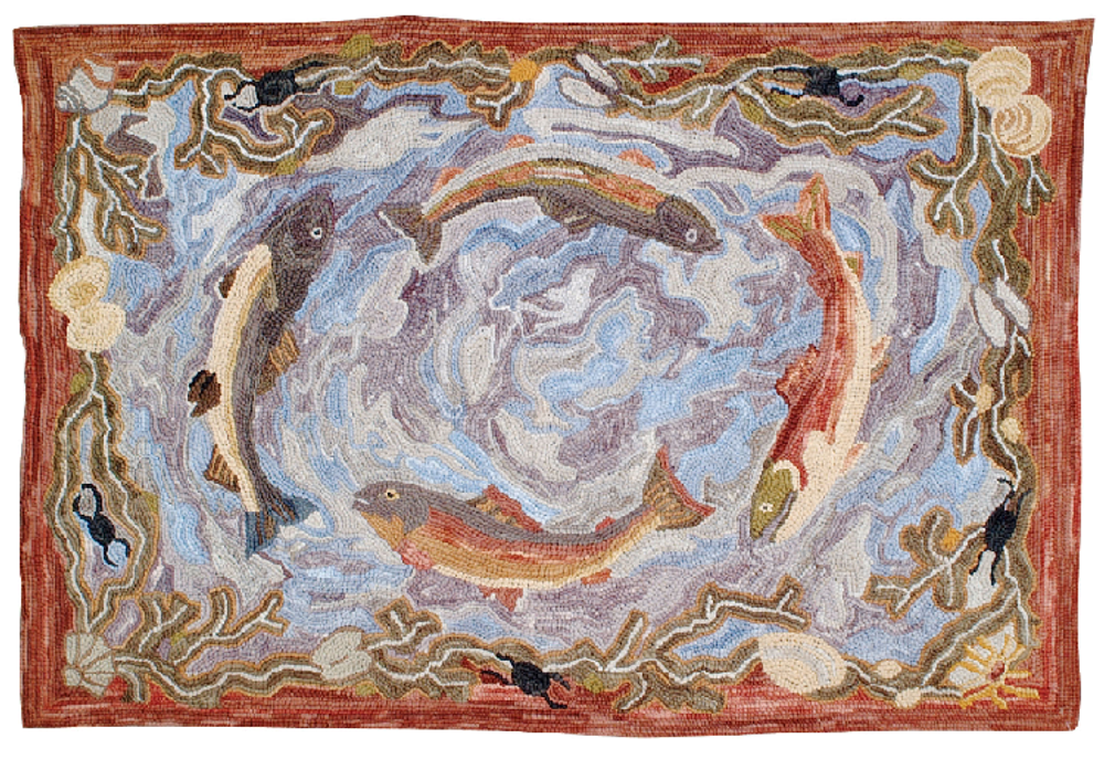 """Swimming Fish Cotton Hooked Rug """"Camp Outer Banks"""" 