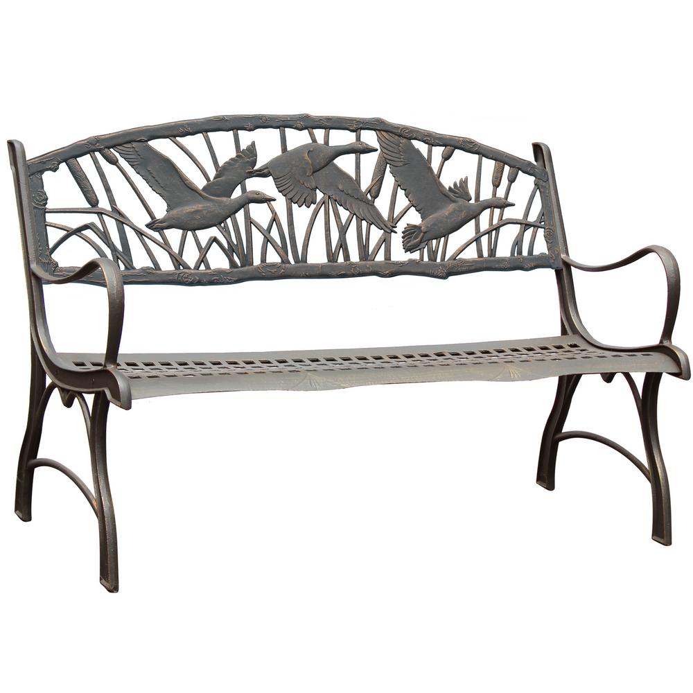 Goose Cast Iron Garden Bench | Painted Sky | PB-IGS-100BR
