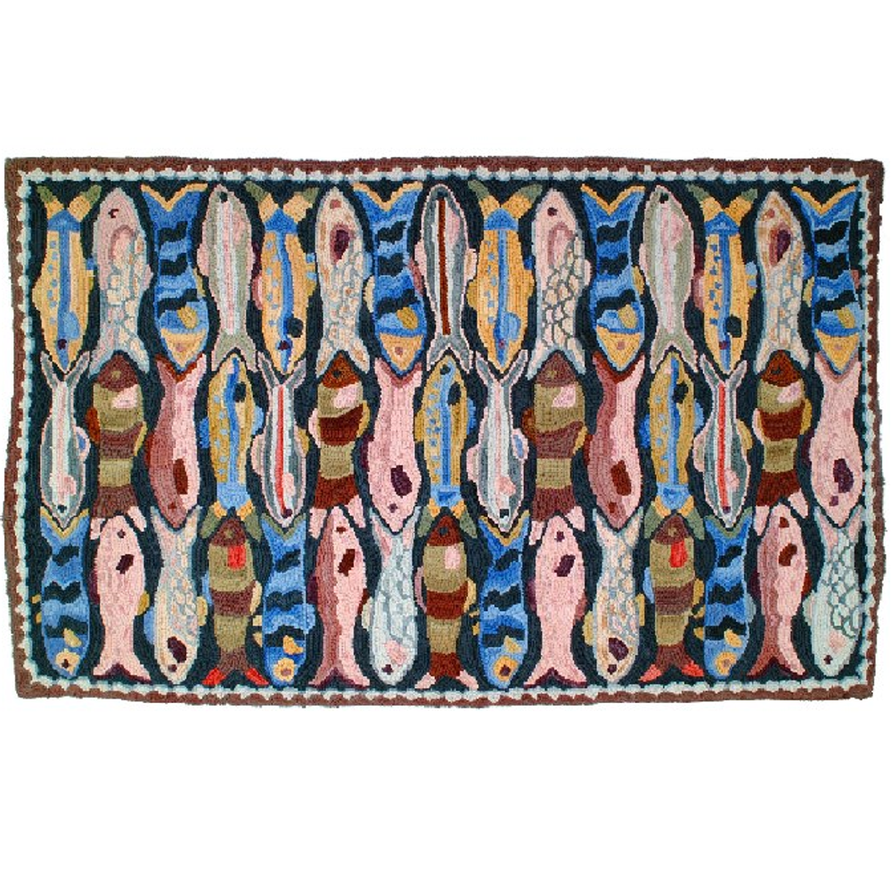 "Fish Cotton Hooked Rug ""Camp Little River"" 