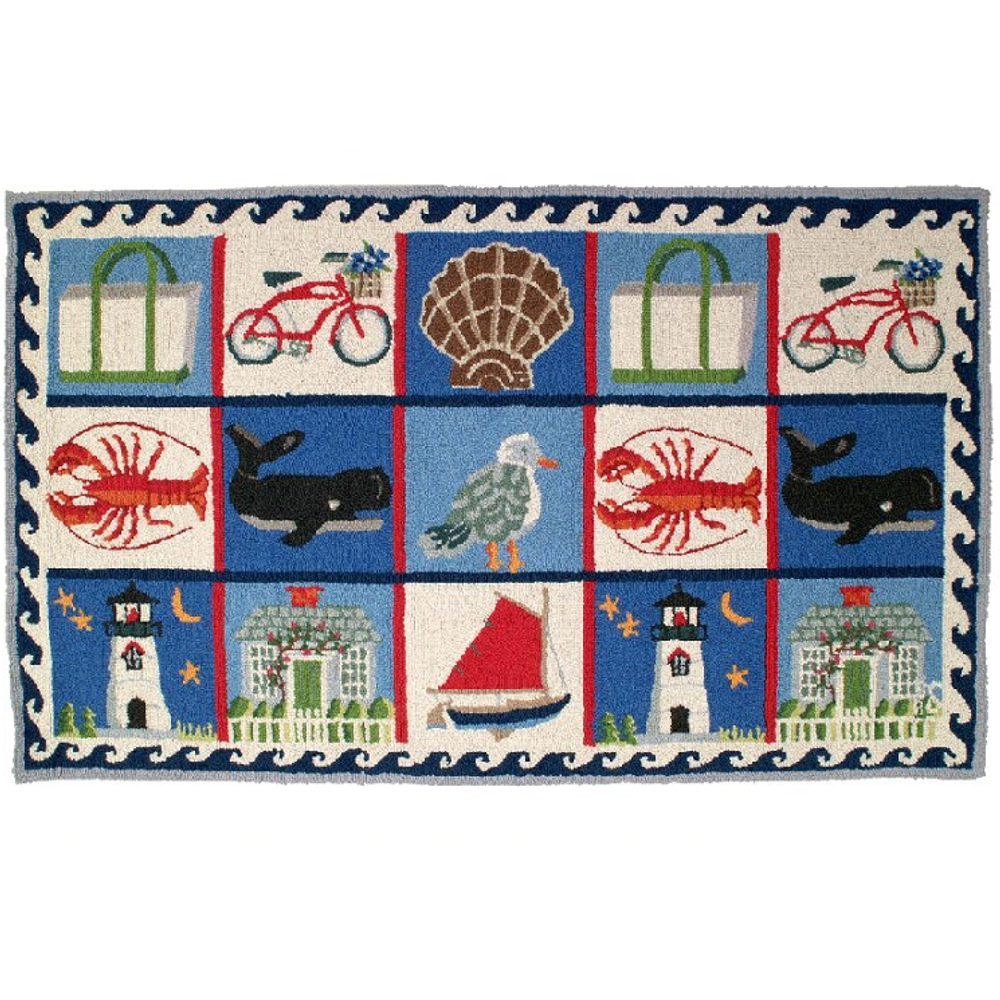 Coastal Quilt Wool Hooked Rug | Michaelian Home | MICH655
