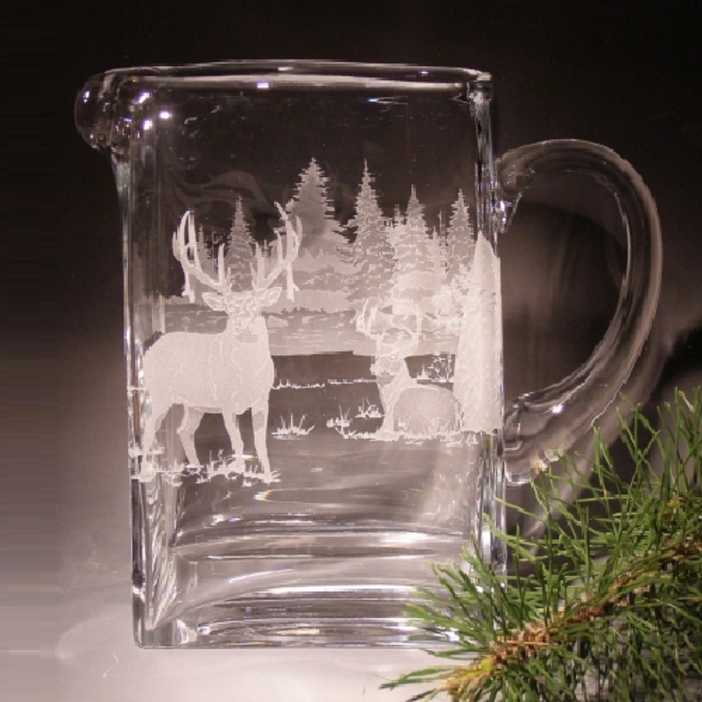 Whitetail Deer Etched Crystal Pitcher   Evergreen Crystal
