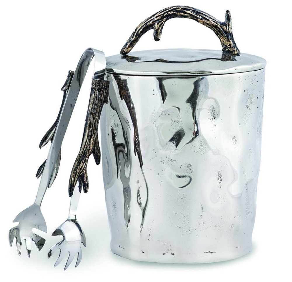 """Antler Aluminum Ice Bucket with Tong """"Woodland"""" 