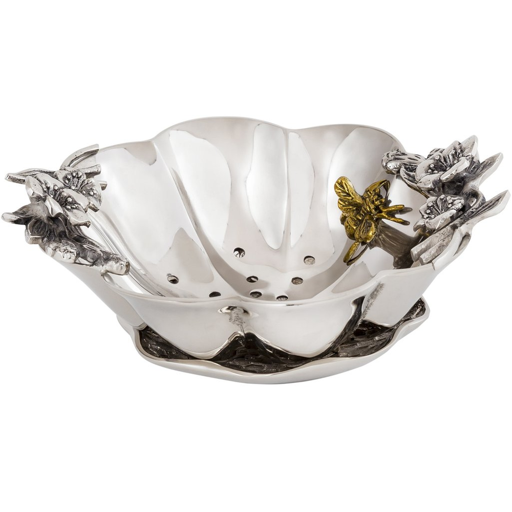 Bumble Bee Aluminum Berry Bowl with Undertray | Star Home Designs | 42284