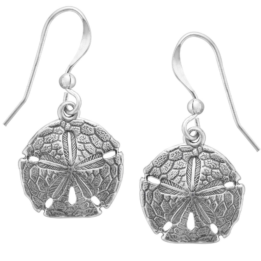 Sand Dollar Sterling Silver Wire Earrings | Kabana Jewelry | SE078