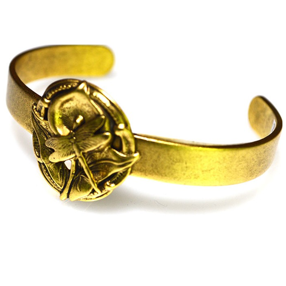 Dragonfly Calla Lily Antique Gold Brass Bracelet | Elaine Coyne Jewelry | Nature Jewelry
