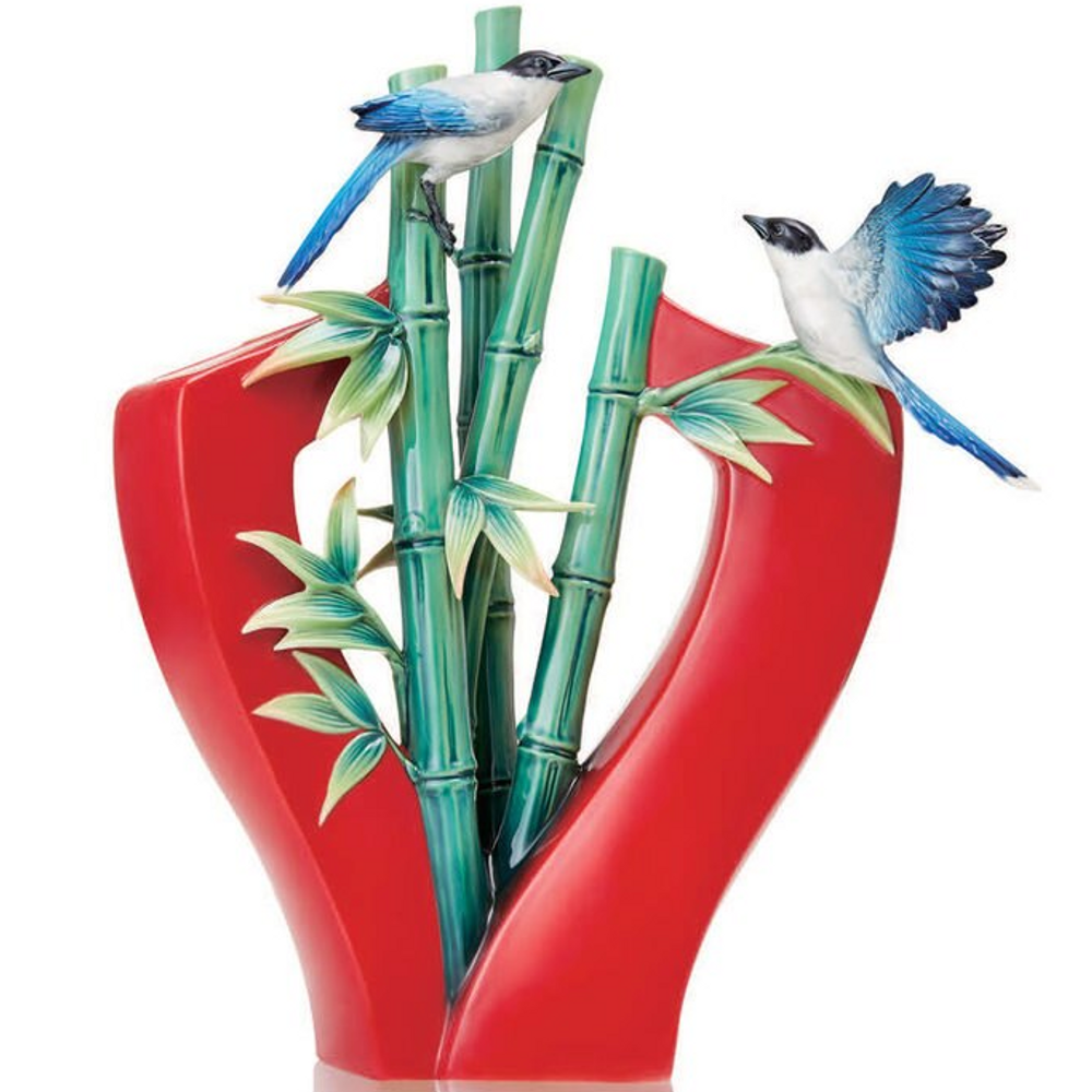 "Bird Porcelain Vase ""High and Higher"" | FZ03691 | Franz Collection"