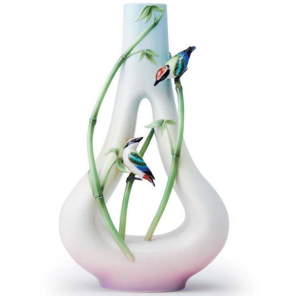 Bamboo Songbird Porcelain Vase | FZ03698 | Franz Collection