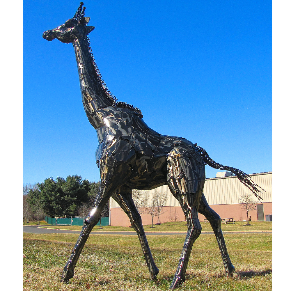 Giraffe Metal Outdoor Statue | Zaer LTD, Intl. | ZLIZR180485