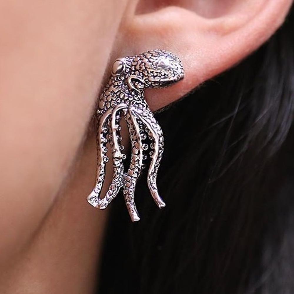 Octopus Sterling Silver Post Earrings   Kabana   SE183