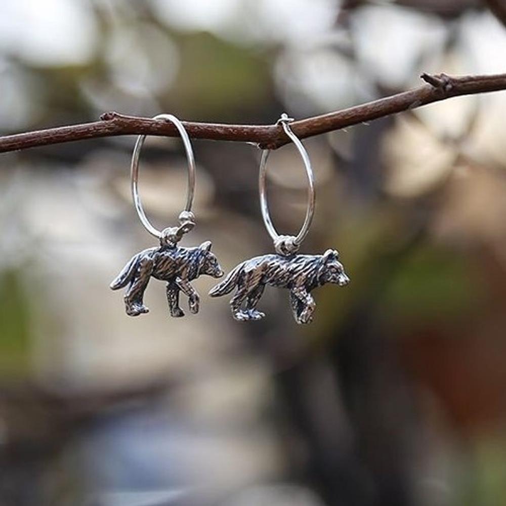 Wolf Sterling Silver Hoop Wire Earrings | Kabana Jewelry | KE911