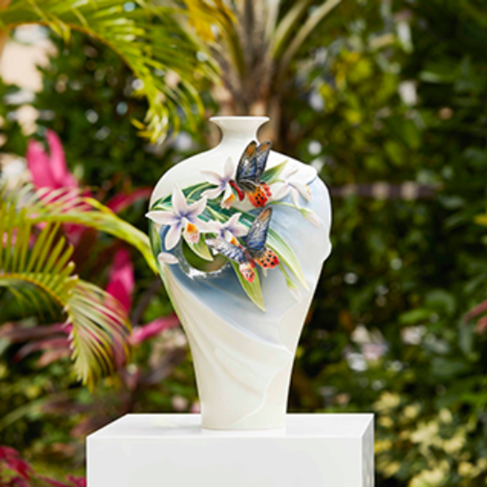Swallowtail Butterfly and Orchid Porcelain Vase | FZ03726 | Franz Collection