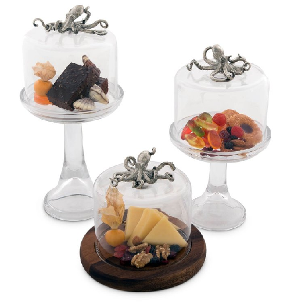 Octopus Dessert Stand with Glass Dome   Vagabond House   VHCO445TKP-22